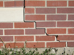 step crack in brick wall